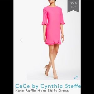 CeCe charm pink ruffle hem shift dress